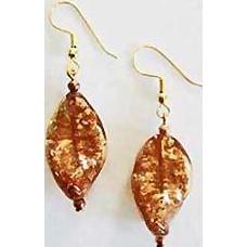 Dazzling Copper Aventurine Venetian Art Glass Earrings, Murano Glass Beads