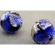 Dazzling German Blue Art Glass Pierced Earrings, RARE 1940's Silver Foil German Beads