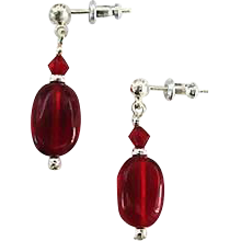 Gorgeous Red German Art Glass Earrings, RARE 1940's German Glass Beads