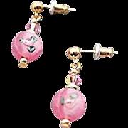 Stunning Pink Czech Art Glass Earrings, Vintage Flower Czech Lampwork Beads