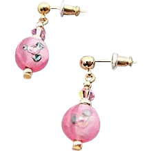 Stunning Pink Czech Art Glass Earrings, Vintage Flower Czech Lampwork Beads