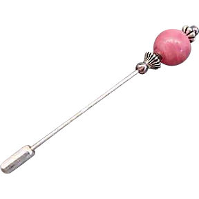 Stunning Art Deco Venetian Glass Stick Pin, RARE 1930's Pink Satin Glass Venetian Bead, Hat Pin
