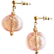 Stunning Pink Venetian Art Glass Earrings, 24K White Gold Foil Murano Glass Lentil Beads