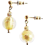 Gorgeous Venetian Art Glass Earrings, 24K Gold Foil Murano Glass Beads