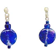 Gorgeous Czech Art Glass Earrings, RARE 1960's Czech Glass Beads
