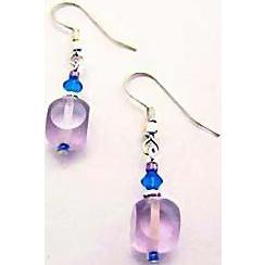 Gorgeous Amethyst Czech Art Glass Earrings, RARE 1950's Czech Satin Glass Beads