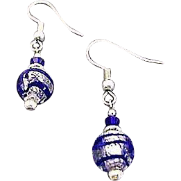 Gorgeous Venetian Art Glass Earrings, Blue Swirl Silver Foil Murano Glass