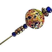 Gorgeous 24K Gold Foil Venetian Art Glass Stick Pin, Murano Lampwork Bead, Hat Pin