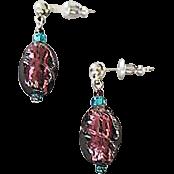 Stunning Purple Venetian Art Glass Earrings, RARE 1940's Venetian Silver Foil Beads