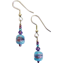 Exquisite Czech Art Glass Earrings, RARE 1940's Czech Glass Beads