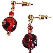 Gorgeous Red Venetian Art Glass Earrings, RARE 1920's Venetian 24K Gold Foil Beads