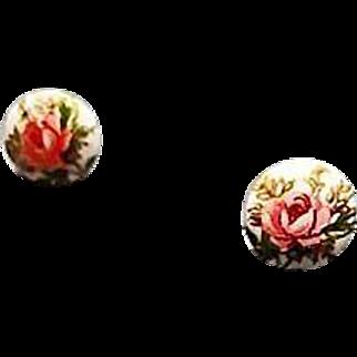 Exquisite White Czech Art Glass Pierced Earrings, RARE 1960's Czech Glass Beads
