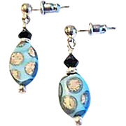 Fabulous Venetian Glass Earrings, RARE 1930's Art Deco Venetian Beads, Satin Glass