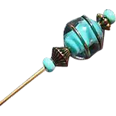 Striking Turquoise Czech Art Glass Stick Pin, Copper Swirl, Vintage Czech Lampwork Glass Bead