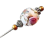 Exquisite White Venetian Art Glass Stick Pin, RARE 1940's Wedding Cake Bead, Aventurina Murano Glass Bead, Hat Pin