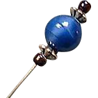 Stunning Art Deco Venetian Glass Stick Pin, RARE 1930's Blue Satin Glass Venetian Bead, Hat Pin