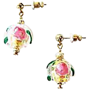 Gorgeous Venetian Fiorato Art Glass Earrings, 24K Gold Foil Murano Glass Beads, Rose Foil Beads