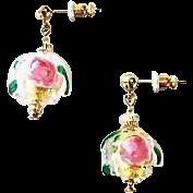 Gorgeous Venetian Fiorato Art Glass Earrings, 24K Gold Foil Murano Glass Beads, Rose Foil Beads