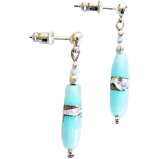 Stunning Venetian Art Glass Earrings, RARE Antique Silver Foil Venetian Glass Beads