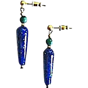 Stunning German Lapis Glass Earrings, RARE 1930's German Lapis Glass Beads