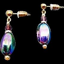 Gorgeous German Art Glass Earrings, SCARCE 1960's Metallic German Beads