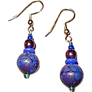 Striking Blue Venetian Art Glass Earrings, RARE 1940's Aventurine Venetian Glass Beads