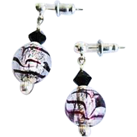 Gorgeous Venetian Art Glass Earrings, Purple Swirl Silver Foil Murano Glass