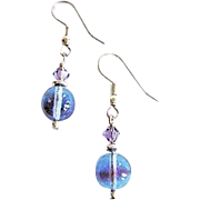Stunning German Art Glass Earrings, Rare 1940's German Beads, Blue Amethyst