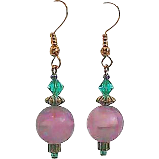 Gorgeous Purple German Art Glass Earrings, RARE 1960's German Glass Beads