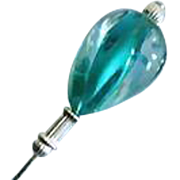 Gorgeous Czech Art Glass Stick Pin, Teal Vintage Czech Glass Bead