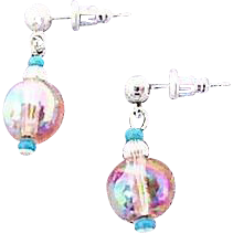 Gorgeous Pink Czech Art Glass Earrings, SCARCE 1950's AB Czech Beads