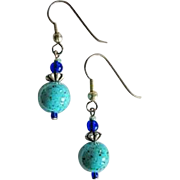 Mod Turquoise Czech Art Glass Earrings, RARE 1960's Czech Beads