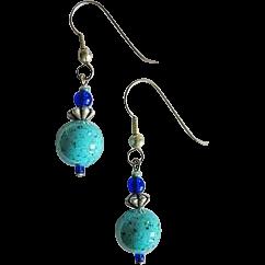 Mod Turquoise Czech Art Glass Earrings, RARE 1960's Czech Beads