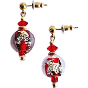 Dazzling Venetian Art Glass Earrings, Vintage Red 24K Gold Foil Murano Glass Beads