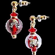 Dazzling Venetian Art Glass Earrings, Vintage Red 24K Gold Foil Murano Glass Beads