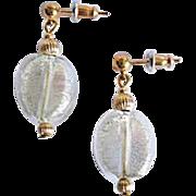 Gorgeous Venetian Art Glass Earrings, 24K White Gold Foil Murano Glass Beads