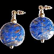 Gorgeous Venetian Art Glass Earrings, Rare 1930's Aventurine Murano Glass Beads, Periwinkle Blue