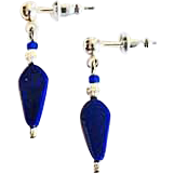 Gorgeous Venetian Art Glass Earrings, RARE 1940's Navy Blue Venetian Beads