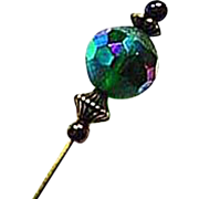 Gorgeous Czech Art Glass Stick Pin, RARE 1950's Czech Glass Bead, AB, Hat Pin