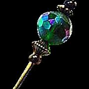 Gorgeous Czech Art Glass Stick Pin, RARE 1950's Czech Glass Bead, AB, Hat Pin