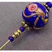 Exquisite Blue Aventurina Venetian Art Glass Stick Pin, RARE 1940's Wedding Cake Bead, Hat Pin