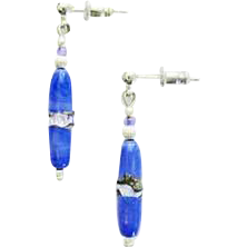 Stunning Blue Venetian Art Glass Earrings, RARE Antique Silver Foil Venetian Glass Beads