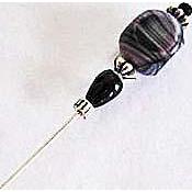 Gorgeous Venetian Glass Stick Pin, RARE 1930's Satin Glass Venetian Bead, Hat Pin