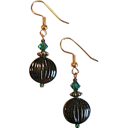 Striking Czech Art Glass Earrings, RARE 1940's Czech Glass Beads, Purple, Maroon, Mauve