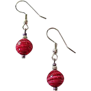 Gorgeous Venetian Art Glass Earrings, Rare 1940's Magenta Pink Venetian Beads