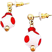 Mod Czech Art Glass Earrings, RARE 1960's Czech Polka Dot Beads, Red & White
