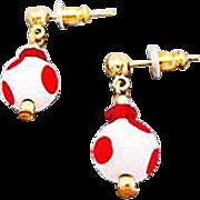 Mod Czech Art Glass Earrings, RARE 1960's Czech Polka Dot Beads, Red & White
