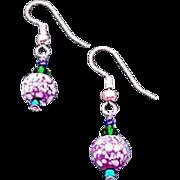 Mod Czech Art Glass Earrings, SCARCE 1960's Czech Beads, Purple & White