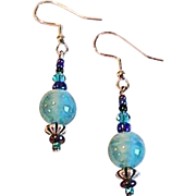 Stunning Art Deco Venetian Glass Earrings, RARE 1930's Teal Satin Glass Venetian Beads