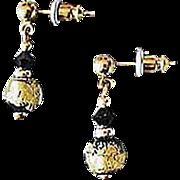 Stunning Venetian Art Glass Earrings, Black & 24K Gold Foil Murano Glass